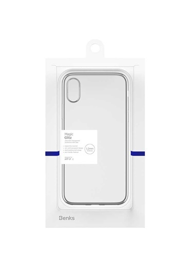 Benks Apple iPhone X Magic Glitz Ultra-Thin Transparent Protective Soft Case Gümüş